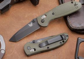 Benchmade Knives: 557BKOD Mini Griptilian - Tanto - Black Blade - OD Scales