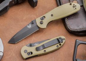 Benchmade Knives: 557BKSN Mini Griptilian - Tanto - Black Blade - Sand Scales