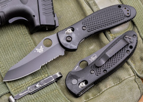 Benchmade Knives: 550SBKHG Griptilian - Black Sheepsfoot Blade - Serrated