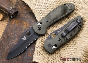 Benchmade Knives: 550SBKHGOD Griptilian - Black Sheepsfoot Blade - OD Scales - Serrated