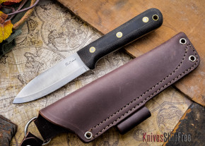 L.T. Wright Knives: Genesis - Bead Blasted Black Micarta - Scandi Grind - A2 Steel