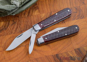 Great Eastern Cutlery: #15 Tidioute - Huckleberry Boy's Knife - Rust Red Jigged Bone - Two Blade - Clip Point