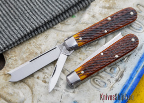 Great Eastern Cutlery: #15 - Tidioute - Huckleberry Boy's Knife - Antique Yellow Jigged Bone - Two Blade