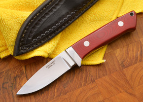 "Alan Warren: 3 5/8"" Loveless Style Hunter - Red Linen Micarta - CPM-154"