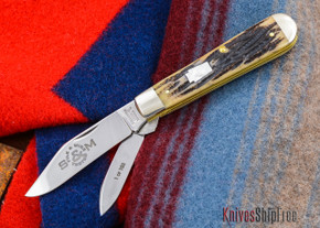 Schatt & Morgan File & Wire: #90 - Heavy Jack Trapper - Camel Bone - Mother of Pearl Shield