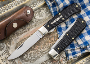 Great Eastern Cutlery: #73 - Tidioute - Trapper - Liner Lock - Black Box Brown Jigged Bone