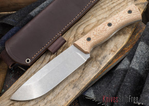 Fiddleback Forge: Production Camp Knife - Natural Canvas Micarta - CPM 3V