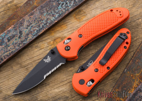 Benchmade Knives: 551SBK-ORG Griptilian - Modified Drop Point - Black Blade - Orange Handle - Serrated