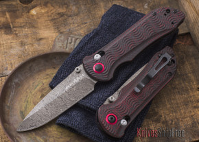 Benchmade Knives: 908-161 AXIS Stryker II - Odin Heim Damasteel - AXIS Lock - Red Carbon Fiber