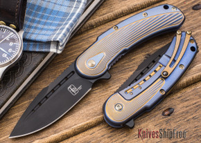Todd Begg Knives: Steelcraft Series - Mini-Bodega - Blue & Gold Finish - Fan Pattern