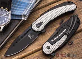 Todd Begg Knives: Steelcraft Series - Mini-Bodega - Black & Silver Finish - Scallop Pattern