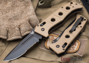 Benchmade Knives: 2750SBKSN Adamas Auto - Serrated Black Blade - Tan G-10