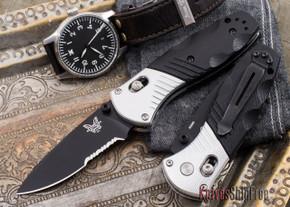 Benchmade Knives: 586SBK Mini Barrage - Serrated Black Blade - M390 Steel - AXIS® Assist