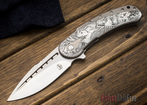 Todd Begg Knives: Custom Bodega - Dragon Lady Engraving - Grey Titanium