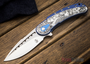 Todd Begg Knives: Custom Bodega - Dragon Lady Engraving - Blue Titanium