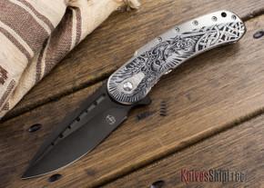 Todd Begg Knives: Custom Bodega - Norse Engraving - Satin Silver Titanium