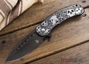 Todd Begg Knives: Custom Bodega - Skull Engraving - Satin Black Titanium