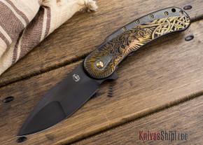 Todd Begg Knives: Custom Bodega Prototype - Norse Engraving - DLC Black Titanium