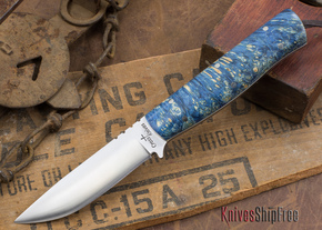 Cross Knives: Bushcraft LT Knife - Stabilized Dyed Box Elder - White Liners