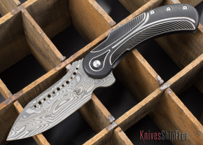 Todd Begg Knives: Steelcraft Series - Field Marshall - Black & Silver Titanium - Grosserosenª Damasteel¨ - J
