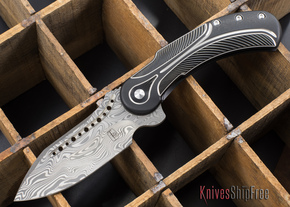 Todd Begg Knives: Steelcraft Series - Field Marshall - Black & Silver Titanium - Draupner Damasteel - F