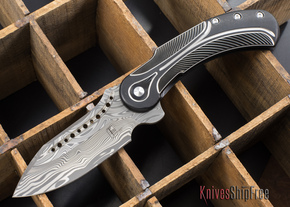 Todd Begg Knives: Steelcraft Series - Field Marshall - Black & Silver Titanium - Draupner Damasteel - G