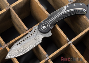 Todd Begg Knives: Steelcraft Series - Field Marshall - Black & Silver Titanium - Draupner Damasteel - J