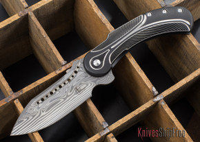Todd Begg Knives: Steelcraft Series - Field Marshall - Black & Silver Titanium - Draupner Damasteel - K