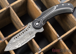 Todd Begg Knives: Steelcraft Series - Field Marshall - Black & Silver Titanium - Draupner Damasteel - M