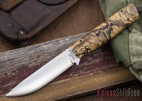 Cross Knives: Bushcrafter Knife - Spalted Hackberry - Black Liners - Black G-10 Pins
