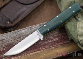 Cross Knives: Bushcraft LT Knife - Blue/Green Micarta - Yellow Liners