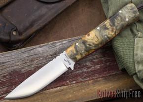 Cross Knives: Bushcraft LT Knife - Buckeye Burl - Red Liners