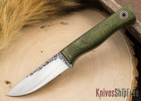 Fiddleback Forge: Recluse - Evergreen Burlap Micarta - Natural / Lime Liners - A2 Steel