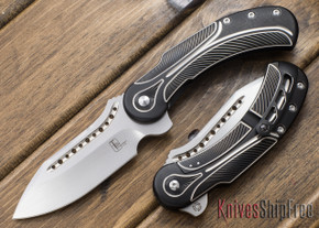 Todd Begg Knives: Steelcraft Series - Field Marshall - Black & Silver Titanium - Hand Satin Finish