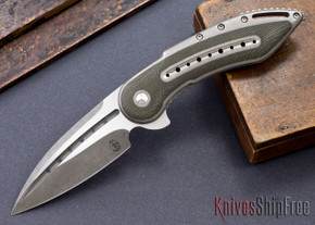 Todd Begg Knives: Custom Glimpse 6.0 - Green Canvas Micarta Inlay - Fluted Blade - 120909