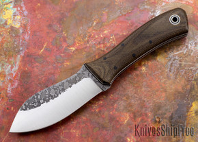 Fiddleback Forge: Nessmuk - Brown Canvas Micarta - Black / White Liners - A2 Steel
