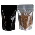 T-PACK SPSTZ500.BK Thomson PAck Stand Pouch Side Transparant Zipper 500g Glossy Black + Valve