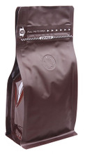 M004-PZ.CBR Box Pouch Zipper 100-120g Coffee Brown + Zipper + valve