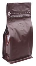 M004-PZ.CBR Box Pouch Zipper 100-120g Coffee Brown + Zipper + valve