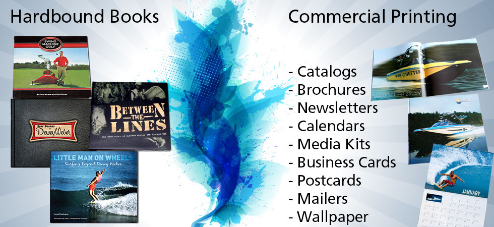 Premium Hardbound Books printing. Commercial printing services available. Business cards, catalogs, calendars, media kits, postcards and publications.