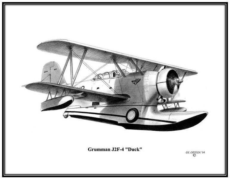 Grumman J2f 4 Duck Free Shipping Lonnie Ortega Aviation Art