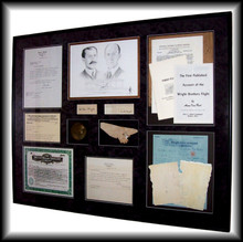 This is the entire piece which shows all the documents letters, patents, letters and the original autographs of Orville and Wilbur Wright and my pencil original of both men.