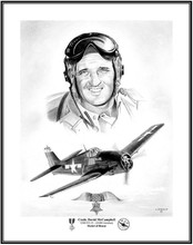 "This is my latest pencil Illustration on ""Medal of Honor"" winner Commander David McCampbell Navy's Top scoring Ace in WWII with 34 victories!!"