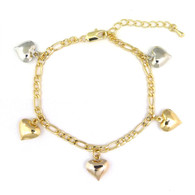 14k Gold Plated 3-Tone Heart Dangling Charms Bracelet