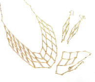 14k Gold Layered Intricate Latticework Necklace and Earrings Set