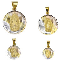 14k Gold Filled Virgen de Guadalupe Laser Cut 3 Tone Circle Pendant