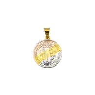 14k Gold Plated 3 Tone Saint Benedict with Cross Charm Pendant