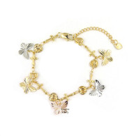 14k Gold Plated 3 Tone Butterfly with Heart and Cross Charms Bracelet