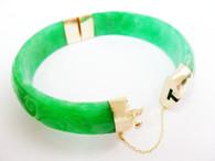 14K Solid Gold Jade Bracelet