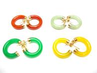 14K Solid Gold Jade Hoop Earrings